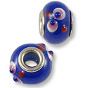 Large Hole Lampwork Glass Bead 10x14mm Blue/Red/White Flower (1-Pc)