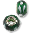 Large Hole Lampwork Glass Bead 9x14mm Green/White (1-Pc)