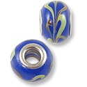 Large Hole Lampwork Glass Bead 10x14mm Navy Blue/Tan/Green Swirl (1-Pc)