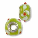Large Hole Glass Bead 10x14mm Green with Red Dots & White Swirls (1-Pc)