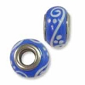 Large Hole Glass Bead 7.5x13mm Blue with White Swirls (1-Pc)