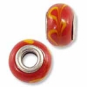Large Hole Glass Bead 9x15mm Red with Yellow Swirls (1-Pc)