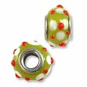 Large Hole Glass Bead 9x15mm Green with Red & White Dots (1-Pc)