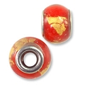 Large Hole Glass Bead 10x14mm Red with Gold Foil (1-Pc)