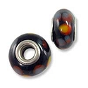 Large Hole Glass Bead 9x14mm Black with Orange & Purple Dots (1-Pc)