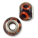 Large Hole Glass Bead 10x13mm Black with Orange Circles (1-Pc)