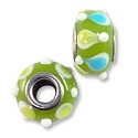 Large Hole Glass Bead 9x15mm Lime Green with Green & Blue Dots (1-Pc)