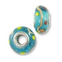 Large Hole Glass Bead 9x15mm Aqua with Tan Swirls & Red/Yellow Dots (1-Pc)