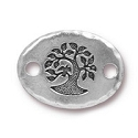 Oval Bird in a Tree Link 20x15m Antique Silver Plated (1-Pc)