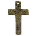Cross Pendant Hammered 33x20mm Pewter Antique Brass Pewter (1-Pc)