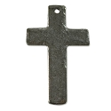 Cross Pendant Hammered 33x20mm Pewter Antique Silver Plated (1-Pc)