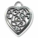 50x56mm Antique Silver Plated Pewter Scrollwork Heart Pendant (1-Pc)