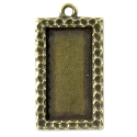 Rectangle Picture Frame 34mmx18mm Pewter Antique Brass Plated (1-Pc)