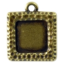 Square Picture Frame 22mm Pewter Antique Brass Plated (1-Pc)