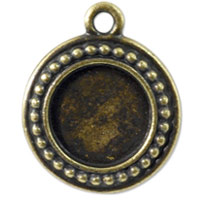 Round Picture Frame 23mm Pewter Antique Brass Plated (1-Pc)