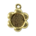 Flower Picture Frame 18mm Pewter Antique Gold Plated (1-Pc)
