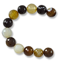 Faceted Banded Agate Beads Black/Gold 10mm (16