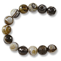 Faceted Banded Agate Beads Black/Brown 10mm (16