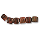 Brazil Agate Puffed Square Beads 12mm (6-Pcs)