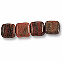 Brazil Agate Puffed Square Beads 15mm (4-Pcs)