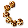 Bone Beads Round Carved 12mm (1-Pc)