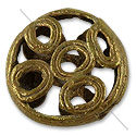 Ghana Brass and Copper Bead with Circles 23mm (1-Pc)