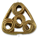 Ghana Brass and Copper Triangle Bead 22mm (1-Pc)