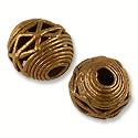 Ghana Bead Round Brass and Copper 15mm (1-Pc)
