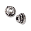 Bead Cap - Beaded 4mm Pewter Antique Silver Plated (2-Pcs)