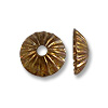 Bead Cap - Corrugated 5mm Base Metal Antique Copper Plated (10-Pcs)