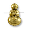 Bead Snowman 11x7mm Pewter Antique Gold Plated (1-Pc)