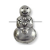 Bead Snowman 11x7mm Pewter Antique Silver Plated (1-Pc)