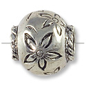12x13mm Antique Silver Plated Flower Large Hole Bead (1-Pc)