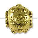 12mm Pewter Antique Gold Plated Large Hole Bead with Hearts  (1-Pc)