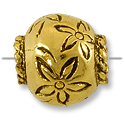 12x13mm Antique Gold Plated Flower Large Hole Bead (1-Pc)