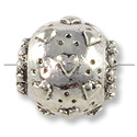 Bead Large Hole Heart 12mm Pewter Antique Silver Plated (1-Pc)