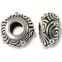 Bead Spiral Large Hole 11x6mm Pewter Antique Silver Plated (1-Pc)