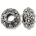 Bead Casbah Large Hole 12x5mm Pewter Antique Silver (1-Pc)