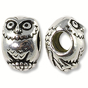 Bead Owl Large Hole 12x8mm Pewter Antique Silver Plated (1-Pc)