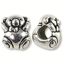Bead Bear Large Hole 11x9mm Pewter Antique Silver Plated (1-Pc)