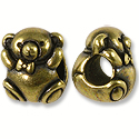 Bead Bear Large Hole 11x9mm Pewter Antique Brass Plated (1-Pc)