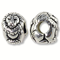 Bead Lion Large Hole 11x8mm Pewter Antique Silver Plated (1-Pc)