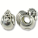 Bead Rooster Large Hole 11x8mm Pewter Antique Silver Plated (1-Pc)