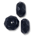 Faceted Blue Goldstone Rondelle Beads 10x6mm (10-Pcs)