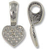 Bail - Heart Glue-On 10x20mm Pewter Bright Rhodium Plated (1-Pc)