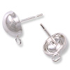 Half Ball Post Earring with Loop 8mm Sterling Silver (1-Pc)