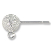 Ball Post Earring Stardust with Open Ring 6mm Sterling Silver (1-Pc)