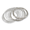 Round Large Bracelet Memory Wire Silver Plated Steel 1/2oz.