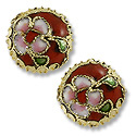 Machine Made Cloisonne Bead 14mm Round Pillow Red (1-Pc)