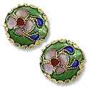 Machine Made Cloisonne Bead 14mm Round Pillow Green (1-Pc)